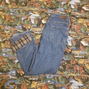 LL Bean Flannel Lined Jeans 33 x 29